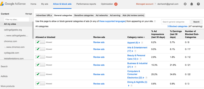 Block ads on AdSense