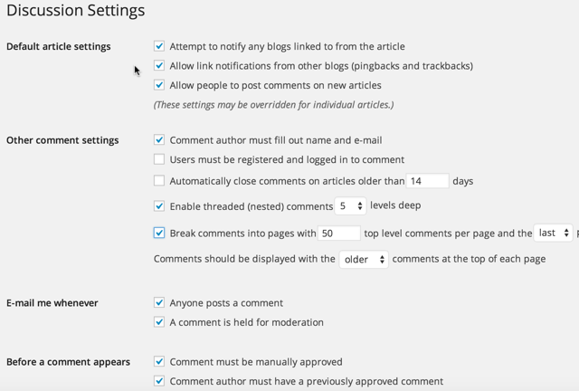 WordPress comment settings